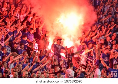 LUBIN, POLAND - APRIL 20, 2018: Match Polish Lotto Ekstraklasa  between KGHM Zaglebie Lubin - Lech Poznan 0:1. Supporters of Lech burns flares.