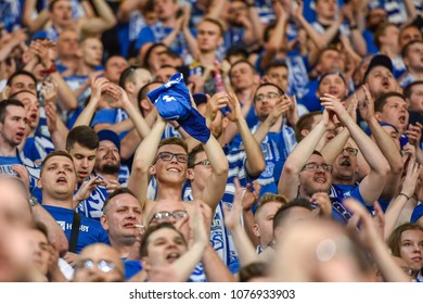 LUBIN, POLAND - APRIL 20, 2018: Match Polish Lotto Ekstraklasa  between KGHM Zaglebie Lubin - Lech Poznan 0:1. Supporters of Lech.