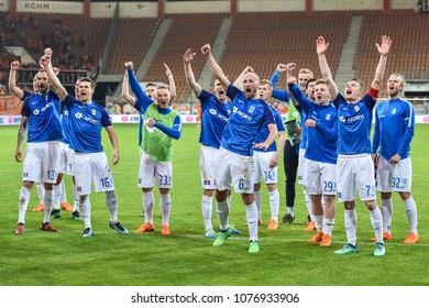 LUBIN, POLAND - APRIL 20, 2018: Match Polish Lotto Ekstraklasa  between KGHM Zaglebie Lubin - Lech Poznan 0:1. Joy players of Lech after match.