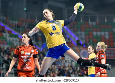 LUBIN, POLAND - APRIL 26, 2017:  Handball women Polish PGNiG Superleague match between Metraco Zaglebie Lubin - Vistal Gdynia 24:24. In action