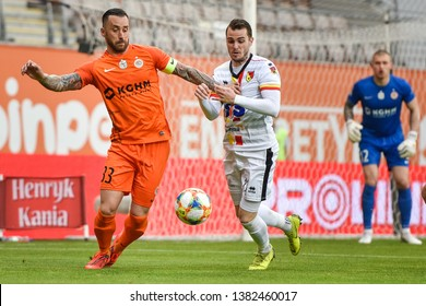 LUBIN, POLAND - APRIL 26, 2019: Match Polish Lotto Ekstraklasa between KGHM Zaglebie Lubin vs Jagiellonia Bialystok 2:0. In action Lubomir Guldan (L) and Jesus Imaz Balleste (R).