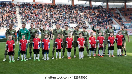 LUBIN, POLAND - APRIL 28, 2016: Match Polish Premer League between KGHM Zaglebie Lubin - Legia Warszawa 2:0. Team of Legia before the match.