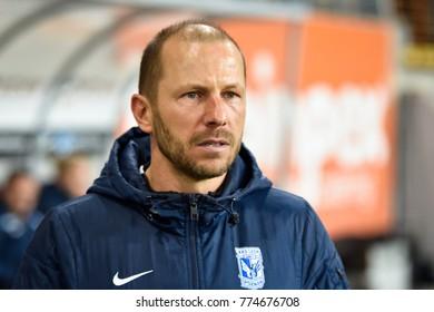 LUBIN, POLAND - DECEMBER 13, 2017: Match Polish Lotto Ekstraklasa  between KGHM Zaglebie Lubin - Lech Poznan 0:0. Second coach of Lech Rene Poms.