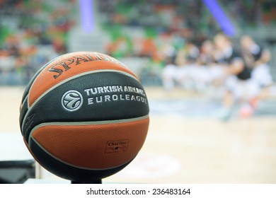 LUBIN, POLAND - DECEMBER 5, 2014: Official ball of Euroleague before the Euroleague basketball match between PGE Turow Zgorzelec - FC Barcelona 65:104.