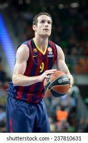 LUBIN, POLAND - DECEMBER 5, 2014:  Marcelinho Huertas in action during the Euroleague basketball match between PGE Turow Zgorzelec - FC Barcelona 65:104.