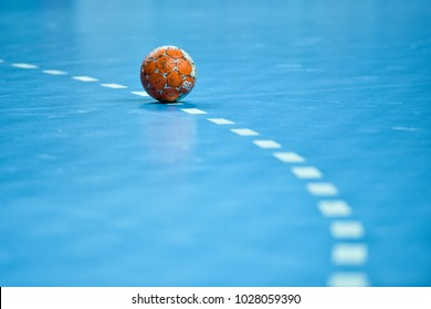 LUBIN, POLAND - FEBRUARY 14, 2018:  Handball women Polish PGNiG Superleague match between Metraco Zaglebie Lubin - KPR Kobierzyce 18:25. Ball laying on the 9 meters dotted line.