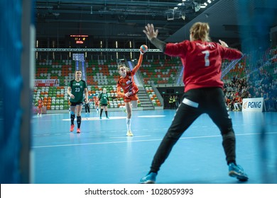 LUBIN, POLAND - FEBRUARY 14, 2018:  Handball women Polish PGNiG Superleague match between Metraco Zaglebie Lubin - KPR Kobierzyce 18:25. In action Adrianna Gorna throw