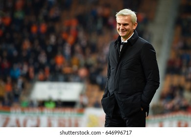 LUBIN, POLAND - FEBRUARY 20, 2017: Match Polish Premier League Lotto Ekstraklasa between KGHM Zaglebie Lubin - Arka Gdynia 0:1. Coach of Legia Jacek Magiera.