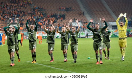 LUBIN, POLAND - FEBRUARY 21, 2016: Players of Legia after winining match Polish Premer League between KGHM Zaglebie Lubin - Legia Warszawa (1:2).