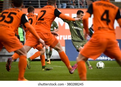 LUBIN, POLAND - FEBRUARY 21, 2016: Tomasz Jodlowiec in action during match Polish Premer League between KGHM Zaglebie Lubin - Legia Warszawa (1:2).