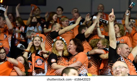 LUBIN, POLAND - FEBRUARY 22, 2017: Men's Volleyball Polish PlusLiga match Cuprum Lubin - Lotos Trefl Gdansk 3:1. Supporters of Cuprum.