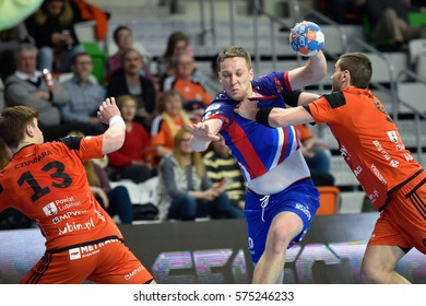LUBIN, POLAND - FEBRUARY 8, 2017: Polish PGNiG Superleague men in handball match between MKS Zaglebie Lubin - Azoty Pulawy 28:30. In action  Rafal Przybylski (19).