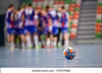 LUBIN, POLAND - FEBRUARY 8, 2017: Polish PGNiG Superleague men in handball match between MKS Zaglebie Lubin - Azoty Pulawy 28:30. The ball.