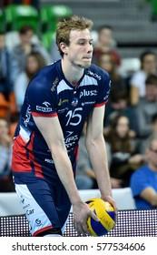 LUBIN, POLAND - JANUAR 24, 2017: Men's Volleyball Polish PlusLiga match Cuprum Lubin - Zaksa Kedzierzyn-Kozle 1:3. In action Sam Deroo.