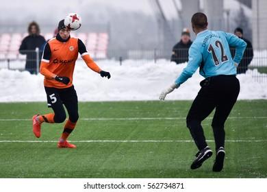 LUBIN, POLAND - JANUARY 18, 2017: Friendly match Polish Premier League Lotto Ekstraklasa between KGHM Zaglebie Lubin - Chrobry Glogow 4:0. In action Jaroslaw Jach shotting goal.