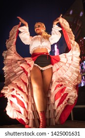 LUBIN, POLAND - JUNE 8, 2019: Cancan dancer celebrate the reopening of the railway line.