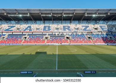 LUBIN, POLAND - MARCH 9, 2018: Match Polish Lotto Ekstraklasa  between Gornik Zabrze - KGHM Zaglebie Lubin 2:2. Stadium before the match.