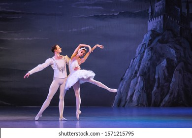"LUBIN, POLAND - NOVEMBER 15, 2019: ""Swan Lake"" ballet performed by the Kiev National Opera Ballet."