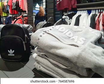 Lubin, Poland - November 17, 2017: Collection of Adidas products offered for sale in the Adidas Shop. Adidas AG is a famous German multinational corporation that designs an manufactures sportswe