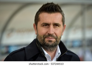 LUBIN, POLAND - NOVEMBER 25, 2016: Match Polish Premier League Lotto Ekstraklasa between KGHM Zaglebie Lubin - Lech Poznan 0:3. Coach of Lech Poznan Nenad Bjelica.