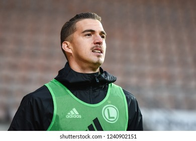 LUBIN, POLAND - NOVEMBER 25, 2018: Match Polish Lotto Ekstraklasa match between KGHM Zaglebie Lubin - Legia Warszawa 0:1. Substitute striker Carlos Lopez Carlitos during warm up.