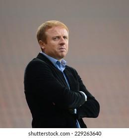 LUBIN, POLAND - NOVEMBER 9, 2014: Trainer of Zaglebie Lubin - Piotr Stokowiec during match Polish 1 League between KGHM Zaglebie Lubin - Miedz Legnica 0:2