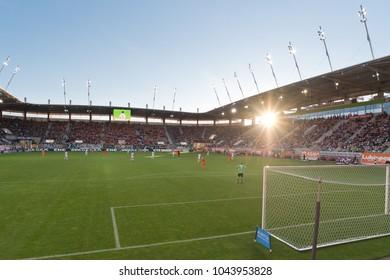 LUBIN, POLAND - OCTOBER 15, 2017: Match Polish Lotto Ekstraklasa  between KGHM Zaglebie Lubin -  Gornik Zarze 3:2. Stadium of Zaglebie aerial view.