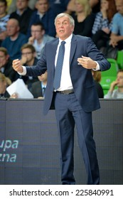LUBIN, POLAND - OCTOBER 24, 2014: Trainer Zlejko Obradovic during the Euroleague basketball match between PGE Turow Zgorzelec - Fenerbache Ulker Stambul 76:91.
