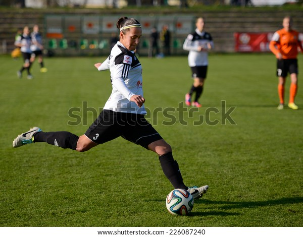 LUBIN, POLAND - OCTOBER 25, 2014: Magdalena Stachnik in action during match Polish women's EkstraLeague between KGHM Zaglebie Lubin - FC Katowice 4:0.