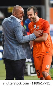 LUBIN, POLAND - SEPTEMBER 14, 2018: Match Polish Lotto Ekstraklasa  between KGHM Zaglebie Lubin - Slask Wroclaw 4:0. Coach of Zaglebie Mariusz Lewandowki (L) and Filip Starzynski (R).