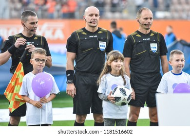 LUBIN, POLAND - SEPTEMBER 14, 2018: Match Polish Lotto Ekstraklasa  between KGHM Zaglebie Lubin - Slask Wroclaw 4:0. Referees from left: Tomasz Listkiewicz, Szymon Marciniak and Pawel Sokolnicki.