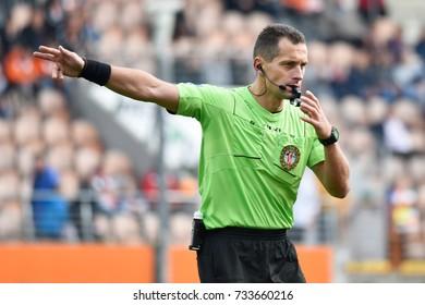 LUBIN, POLAND - SEPTEMBER 24, 2017: Match Polish Lotto Ekstraklasa  between KGHM Zaglebie Lubin -  Sandecja Nowy Sacz 1:0. In action referee Dominik Sulikowski.