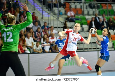 LUBIN, POLAND - SEPTEMBER 27, 2017:  European Championship qualification France 2018, handball women's match Poland - Italy 40:13. In action Katarzyna Janiszewska.
