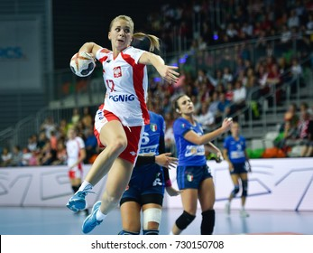 LUBIN, POLAND - SEPTEMBER 27, 2017: European Championship qualification France 2018, handball women's match Poland - Italy 40:13. In action Daria Zawistowska.