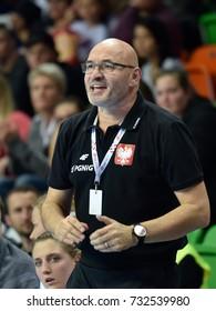 LUBIN, POLAND - SEPTEMBER 27, 2017:European Championship qualification France 2018, handball women's match Poland - Italy 40:13. Head coach of Poland  Leszek Krowicki
