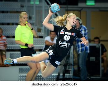 LUBIN, POLAND - SEPTEMBER 7, 2014: Daria Zawistowska during match PGNiG Superleague Women in handball  between KGHM Metraco Zaglebie Lubin - Pogon Baltica Szczecin (26:22).