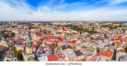Lublin, aerial panorama of the old town. The Trinitarian Tower and the Crown Tribunal are seen from the air.
