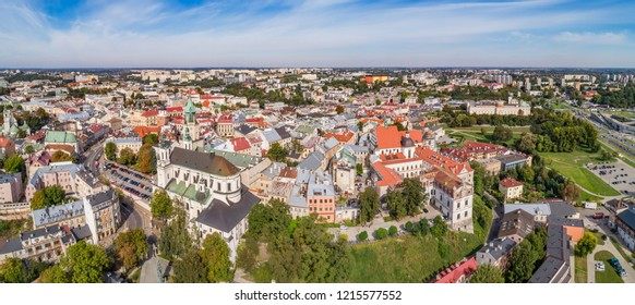 Lublin - aerial panorama, view of the old city. The historic part of the city of Lublin is seen from the air.