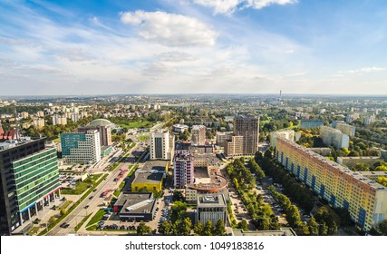 Lublin area of Tomasz Zan's street. Landscape of Lublin from bird's eye view. A city landscape with horizon and sky.