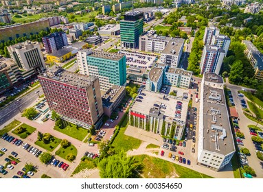 Lublin bird's eye view. Buildings Lublin streets Zana and Filaret. District Pipe view from the air.