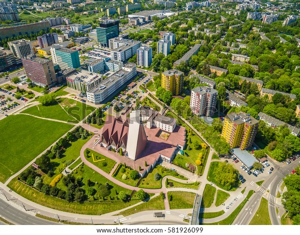 Lublin bird's eye view. The church, housing and other buildings of the city.