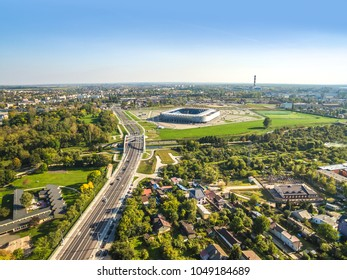 Lublin from a bird's eye view. The city landscape with Muzyczna street, the 700 Lecia bridge and the stadium.