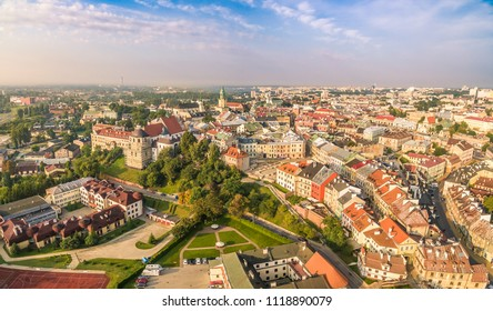 Lublin from a bird's eye view. Old town with Grodzka gate and Po Farze square. Panorama of the tourist part of Lublin.