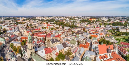 Lublin - a bird's eye view of the old town. Tourist part of the city of Lublin from the air with visible monuments.