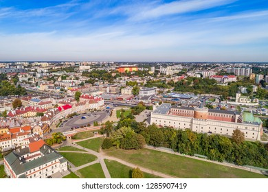 Lublin city landscape from a bird's eye view. The Lublin Castle and the castle square seen from the air.