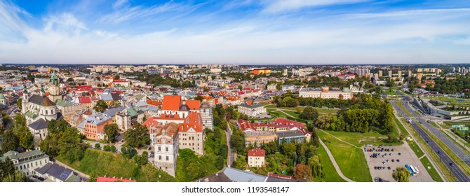Lublin - the city landscape seen from the bird's eye view. Panorama of Lublin from the air with the castle and the cathedral.