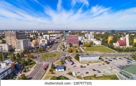 Lublin city view from a bird's eye view. Roundabout on Tomasz Zana Street in Lublin.