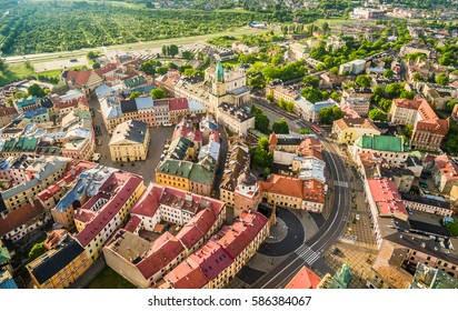 Lublin - the landscape of the old city from the air. Attractions Lublin from the air.
