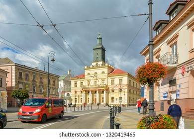 Lublin New Town Hall built in Classical architectural style. Seat for local authorities, President of Lublin and Youth City Council. Lublin, Poland: September 2018. Beautiful summer sunny day.