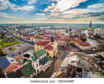 Lublin old town with a bird's eye view. Tourist attractions and sights Lublin.